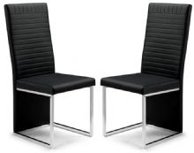 Pair of Toronto Black Faux Leather Dining Chairs